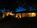 outdoor night view of the chateau lightened for weddings