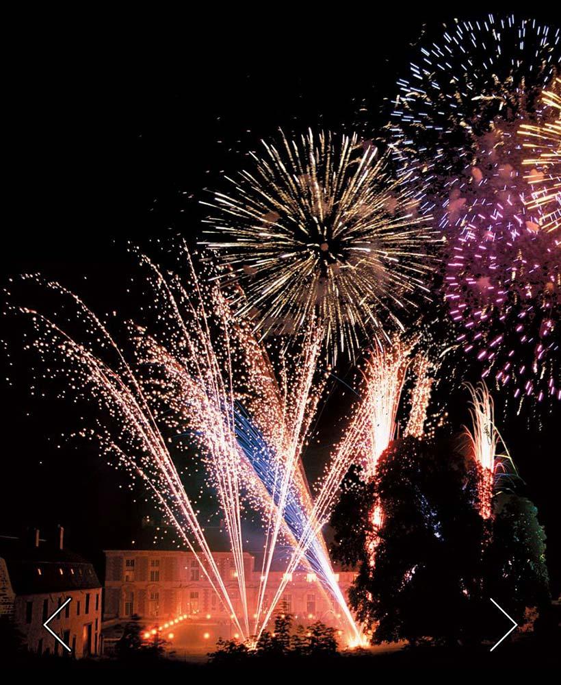 Feuerwerk im Schlosspark für eine Hochzeit