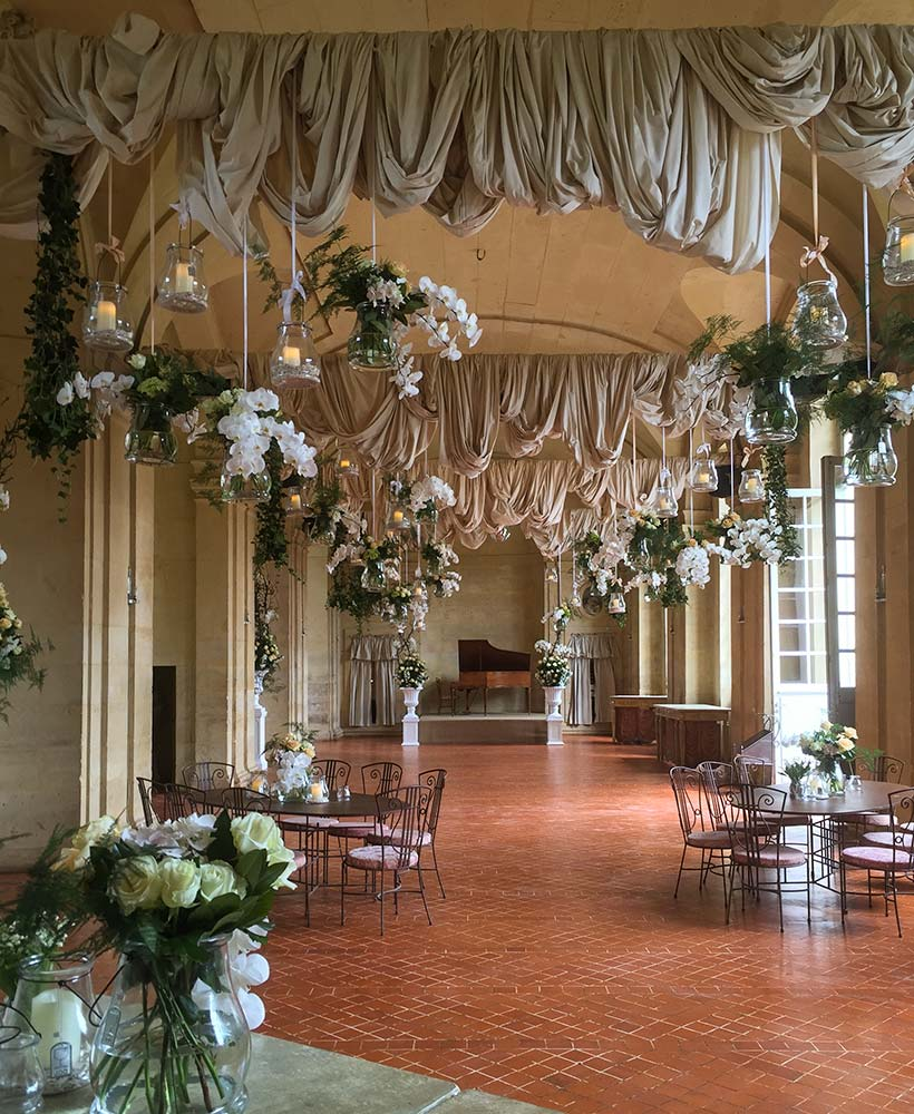 wedding in a chateau's large hall