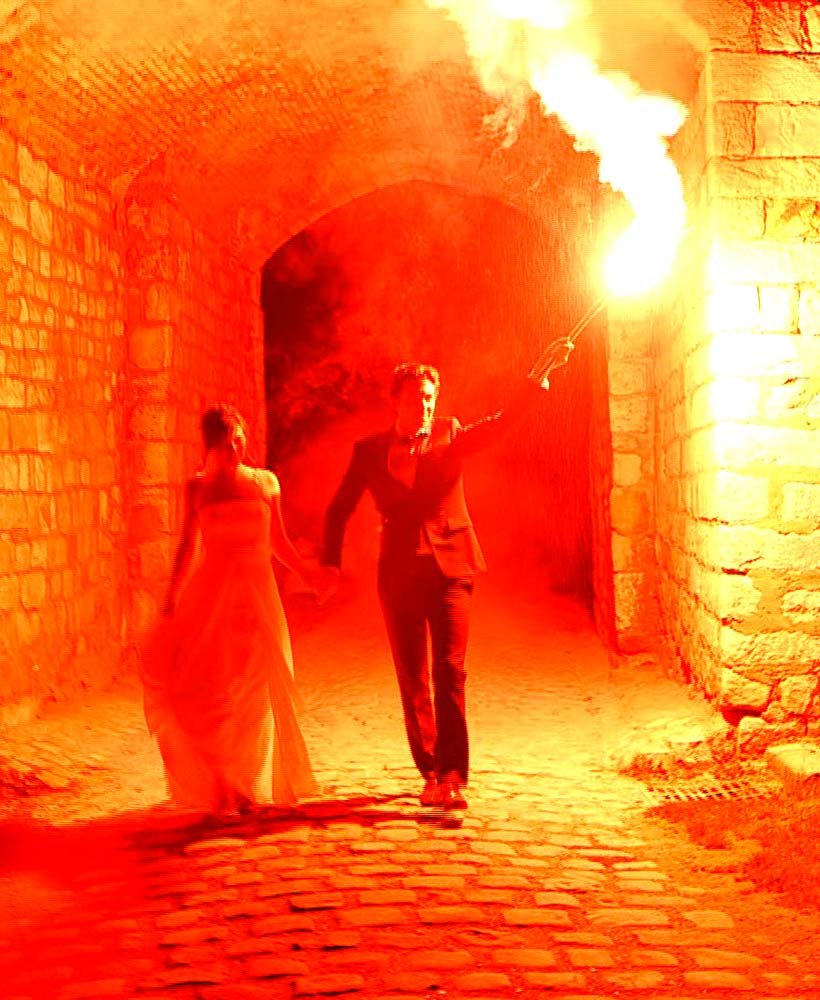 arrivée des mariés au château