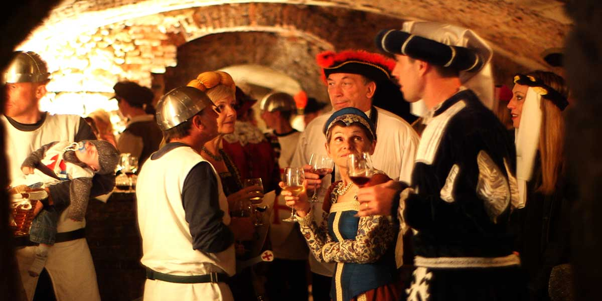 cocktail of a costume wedding in the cellars of the castle