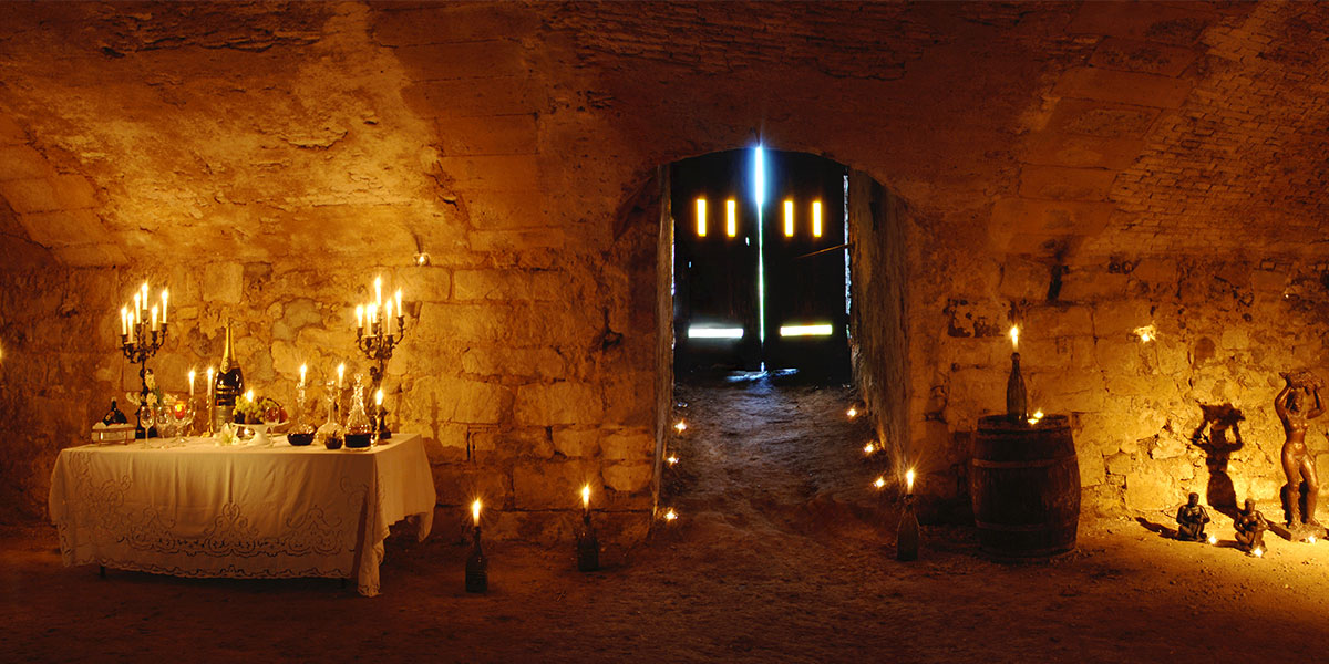 reception at the chateau: medieval cellars