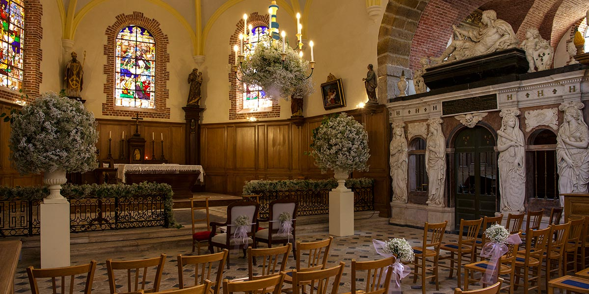 close to the chateau, the flowery church for a marriage ceremony