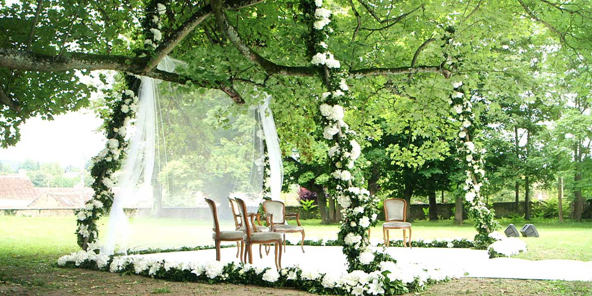 chuppah under the sycamore of the chateau