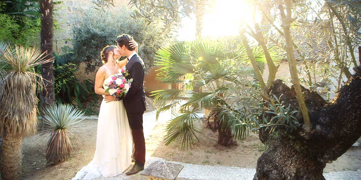 bride in the palm grove of the chateau