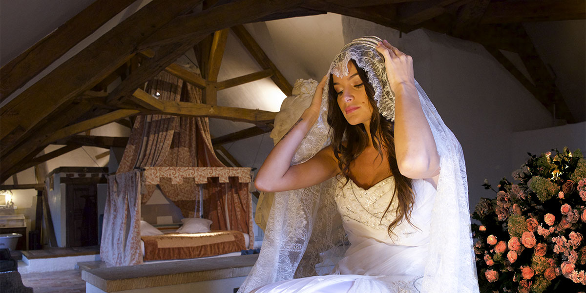 the bride in a room in the chateau