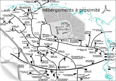 plan des hébergements à proximité
