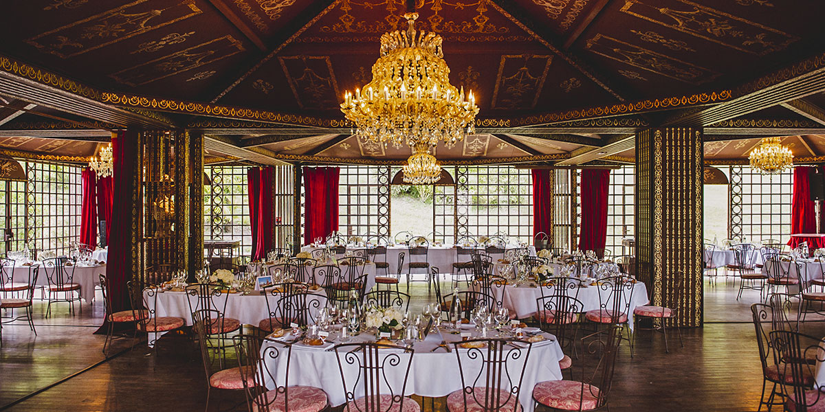 large flowery hall for wedding at the chateau