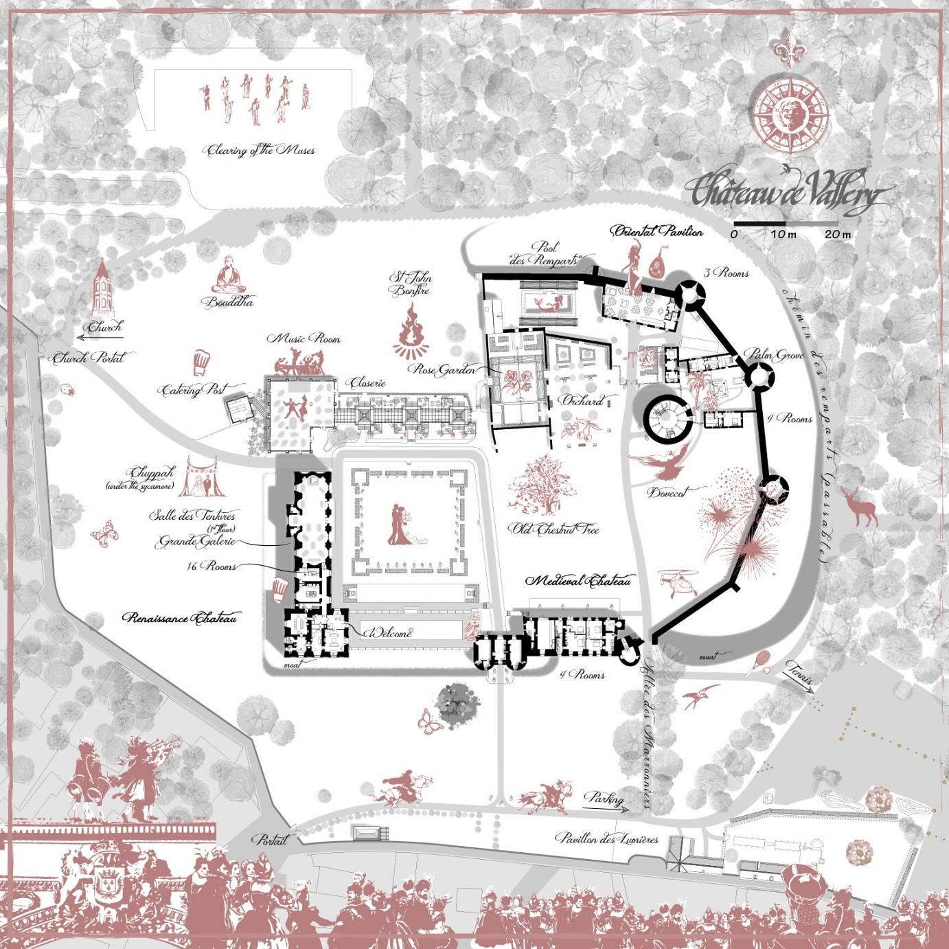 chateau's map to organise a wedding