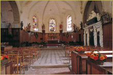 the church of Vallery set up for a wedding